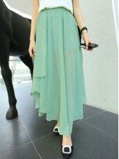 New Summer Asym Hem Chiffon Long Skirt