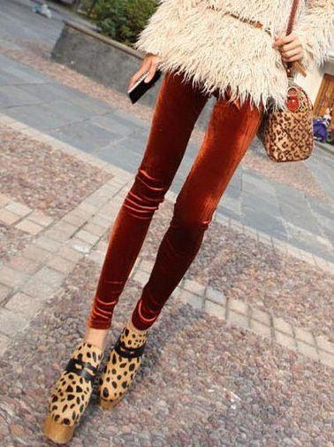 Sweet Girls Natural Waist Pure Color Velour Leggings