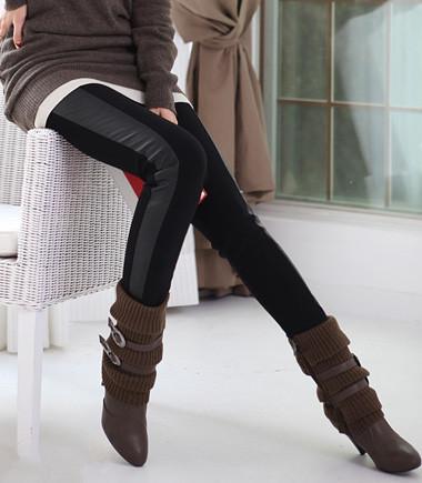 Women Fashion PU Patchwork Color Block Stretchable Leggings