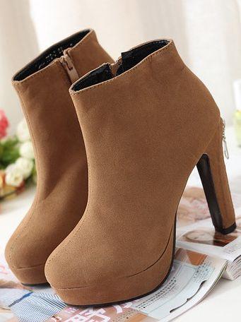 Korean Style Chunky Heel Zip Decorate Platform Boots