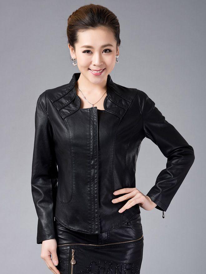 Modern Stand Collar PU Long Sleeve Zipper Jacket