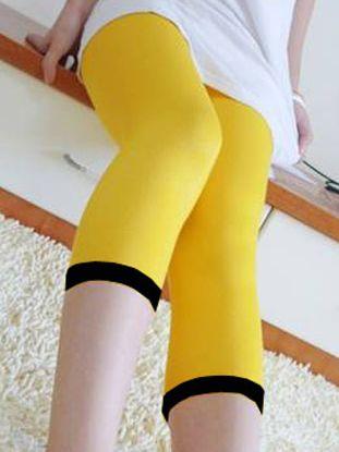 Summer Fashion Color Block Three Quarter Modal Leggings