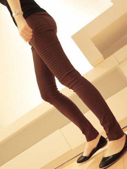 European Style Purplish Red Pure Color Pleated Leggings