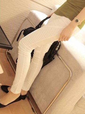Autumn Fashion White Pure Color Pleated Leggings