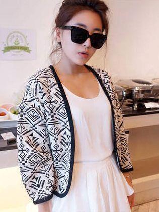 Classic Look Geometric Print Long Sleeve Short Coats