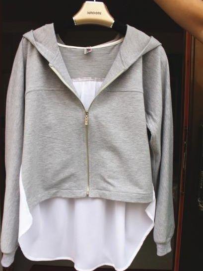 Korean Fashion Chiffon Patch Asymmetrical Tailoring Hoodie Coat