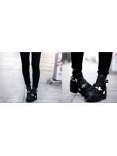 New European Modern Style Hollow Out Buckle Decorated Boots