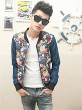 Sweet Man Floral Print Stand Collar Jacket
