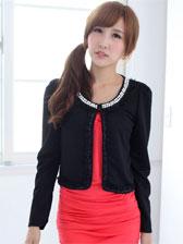 Autumn Korean Beading Lace Detail Puff Sleeve Short Coats