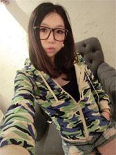 2013 Fashion Camouflage Zipper Long Sleeve Short Coat