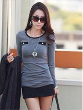 New Trendy Lady Color Block Long Sleeve T-shirt