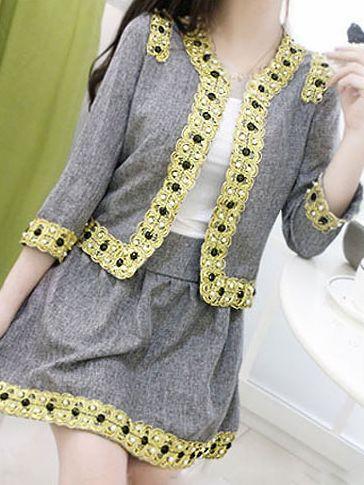 Stylish New Embroidery Studded Two-Piece Dress