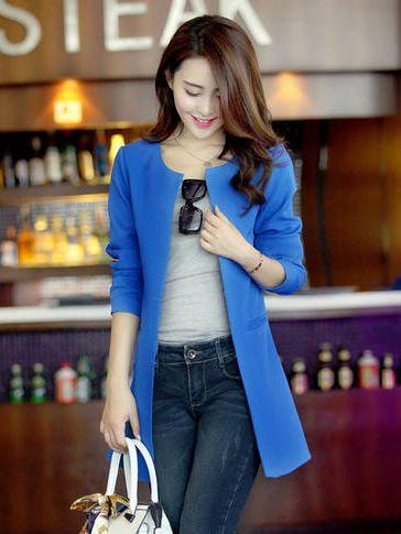 Modern Woman Pocket Coat In Royal Blue
