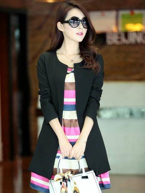Fashion New Pure Color Pocket Long Coat
