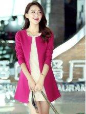 Hot Trendy Pocket Long Coat In Rose