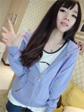 2013 Fashion Zipper Pure Color Long Sleeve Hoodie