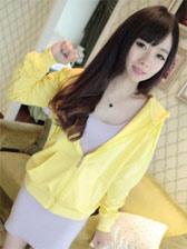 Korean Style Pure Color Zipper Long Sleeve Hoodie