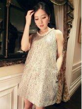 Elegant Lady Pearl Necklace Tank Dress