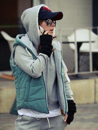 2013 Winter Hooded Zipper Green Waistcoat