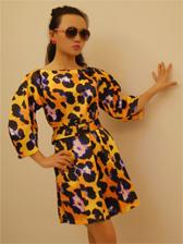 Women Chic Leopard Three-qaurter Sleeve Dress with Belt