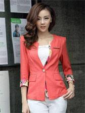 Korean Style Three-quarter Sleeve One Button Suit