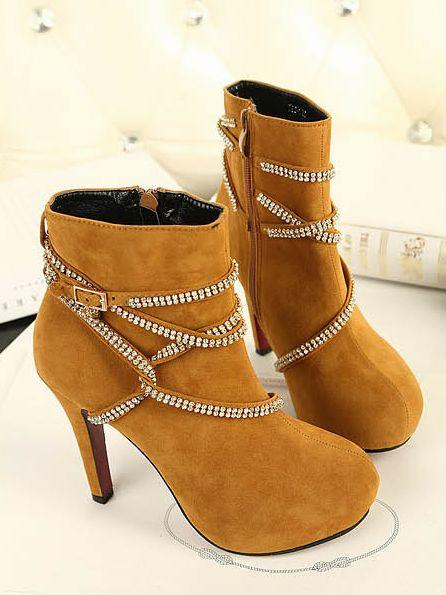 Hot Fashion Round Toe Studded High Heel Boots