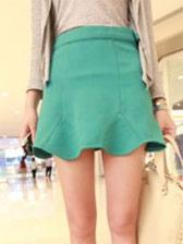 2013 Fashion Ruffles Pure Color Slim Mini Skirt