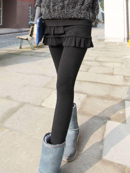 Korean Autumn  Fake Two Piece Pleated Cotton Leggings