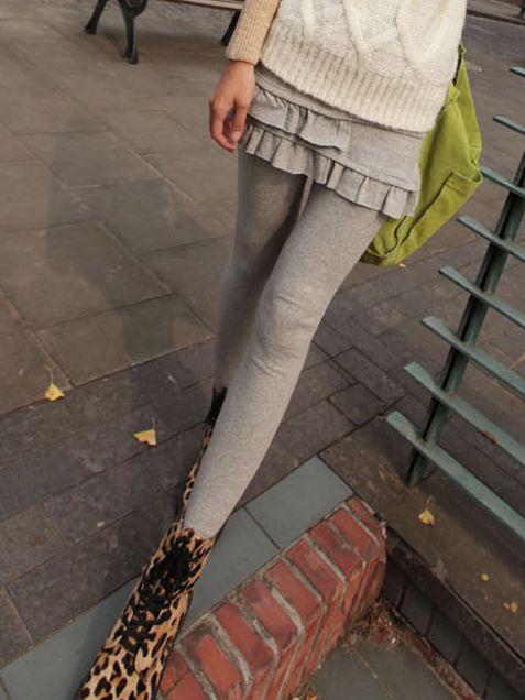2013 Autumn  Fake Two Piece Pleated Cotton Leggings