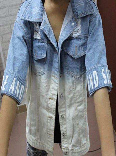 Stylish Girl Letter Print Worn-Out Denim Jacket