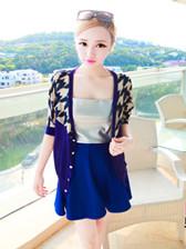 Korean Style Flower Print V-neck Half Sleeve Short Coat
