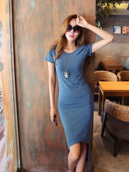 Stylish Girl Asymmetrical Hem Round Neck Dress