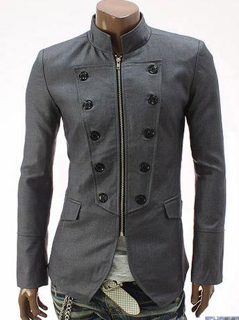 Modern Man Stand Collar Zipper Gray Coat