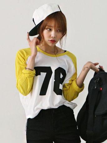 Autumn Fashion Asymmetrical Hem Numbers T-shirt