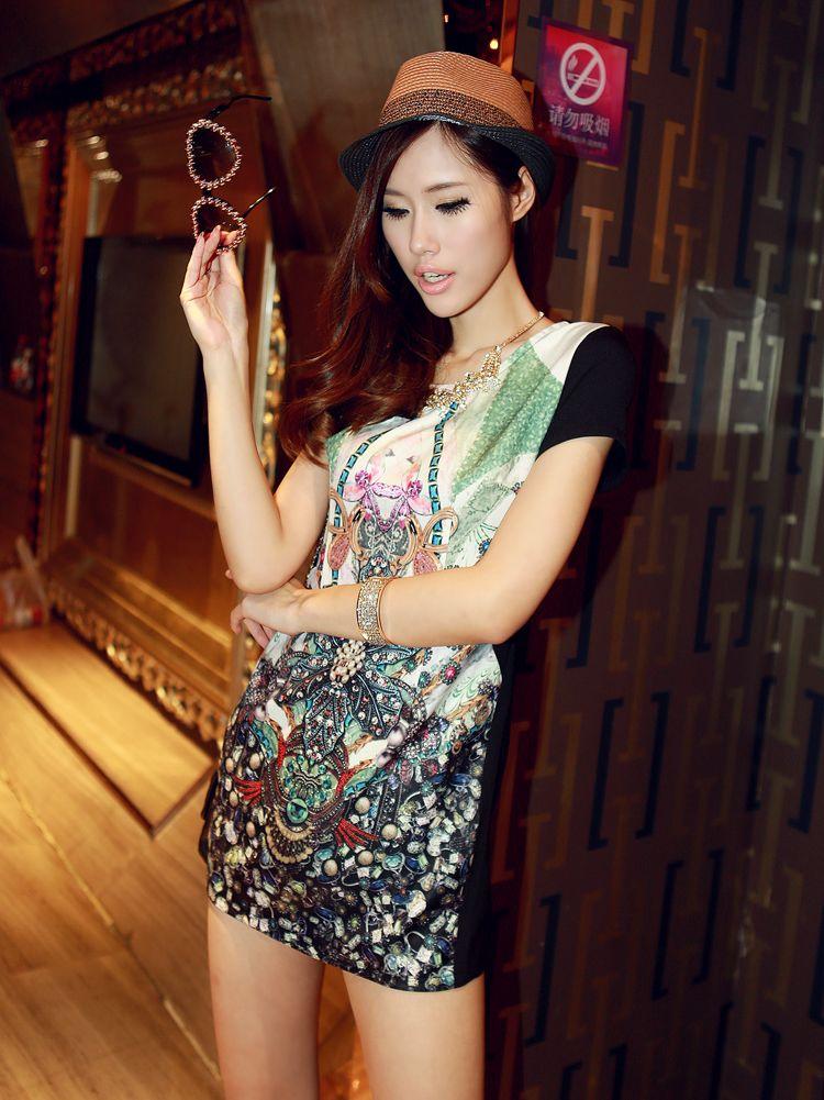 Romantic Lady Floral Print Back Hidden Zipper Mini Dress