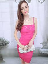 Romantic Lady Natural Waist Pleated Straps Mini Dress