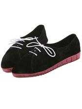 Fashion Trend Shoelace Sharp Toe Flat Suede Shoes