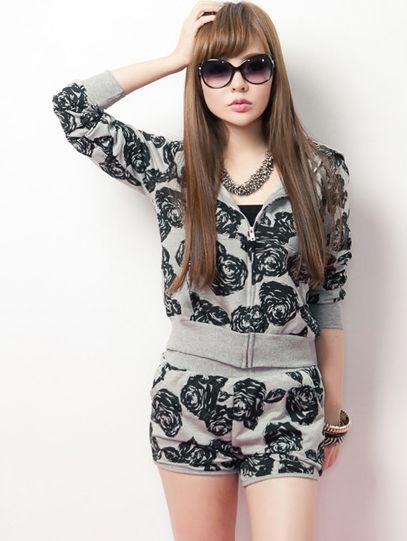 Modern Autumn Hooded Zipper Rose Cotton  Light Gray Activewear