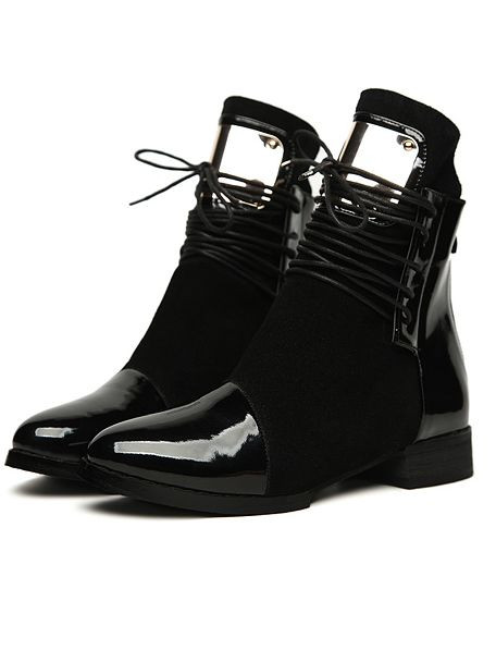 Fall Fashion Lace Up Metal Zipper Sharp Toe Ankle Boots