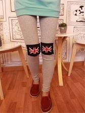 Korean Style Union Jack Patchwork Cotton Leggings