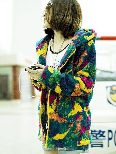 2013 Winter Color Block Velvet Zipper Hoodies