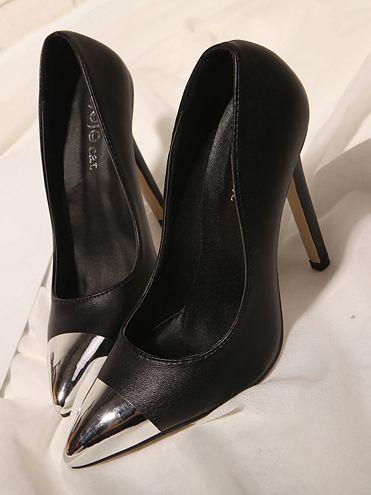 Fashion Trend Metal Sharp Toe Thin Heels Pumps