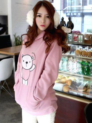 Fashion Trend Bear Print Kanga Pocket Long Sleeve Hooded Hoodies