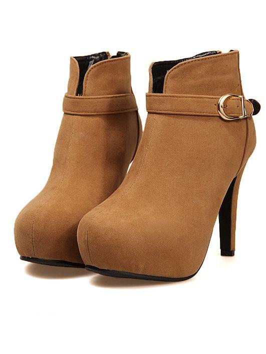 Women Fashion Zipper Buckle Round Toe Platform Stiletto Suede Boots