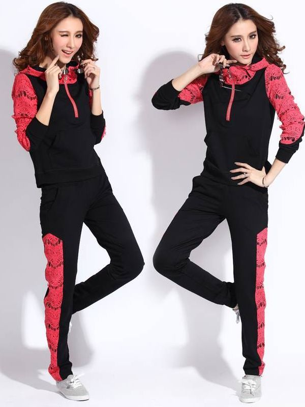 Hot Sale Casual Lace Patchwork Color Block Hooded Activewear