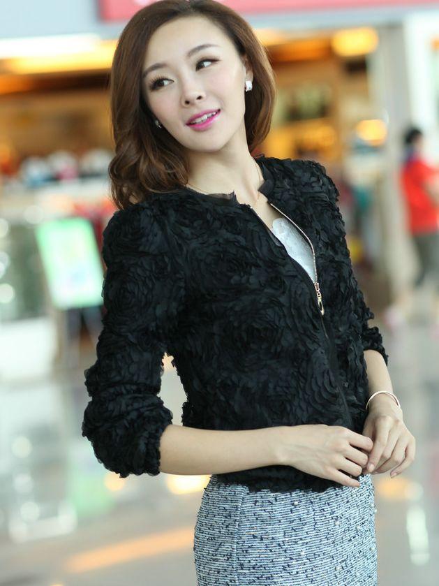Fall Fashion Flower Zipper Pure Color Long Sleeve Short Coats