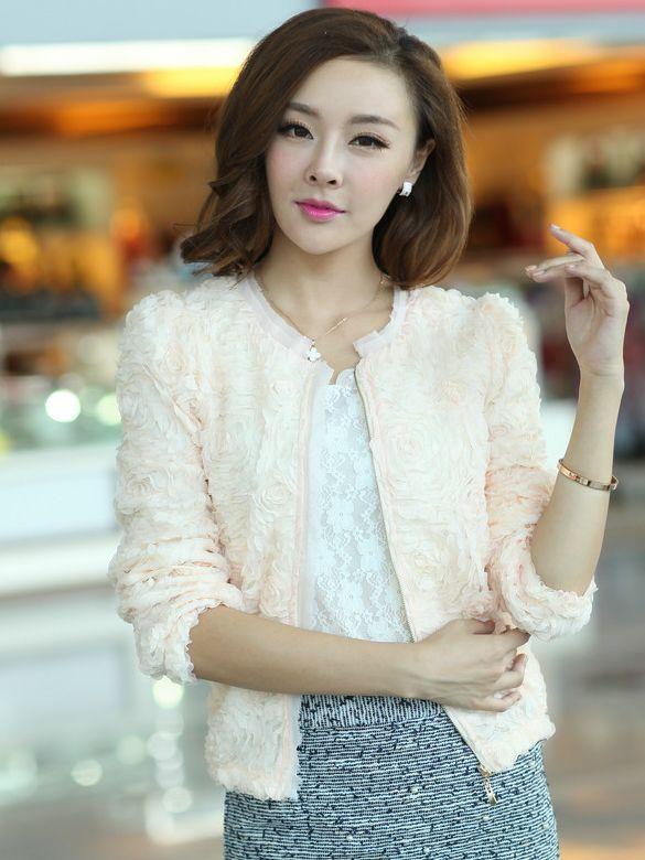 Lady Fashion Flower Zipper Pure Color Round Neck Short Coats