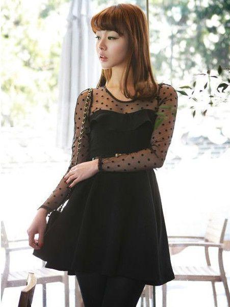 2013 Fashion Polka Dots Round Collar Long Sleeve Dress