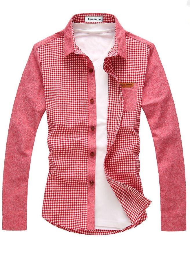 2013 Fashion Plaid Single-breasted Long Sleeve Shirt