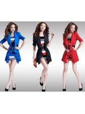 Stylish Lady Flounced Mock Two-piece Long Sleeve Dress